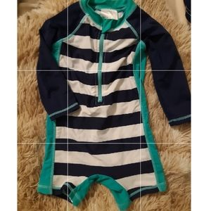 Other - Striped rashguard with matching reversible hats